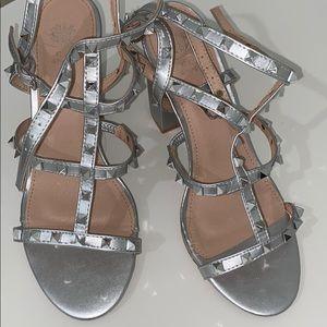 silver woman heels